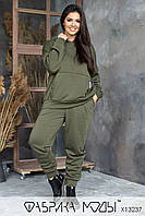 Утепленный женский спортивный костюм из трехнитки на флисе в батальных размерах 1uk814