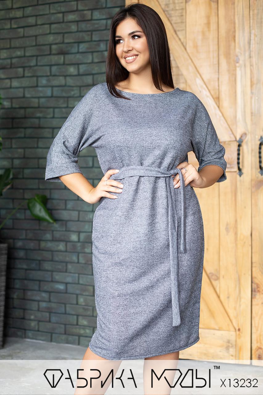 Повседневное платье в больших размерах с рукавом 3/4 и небольшим разрезом сзади 1uk816