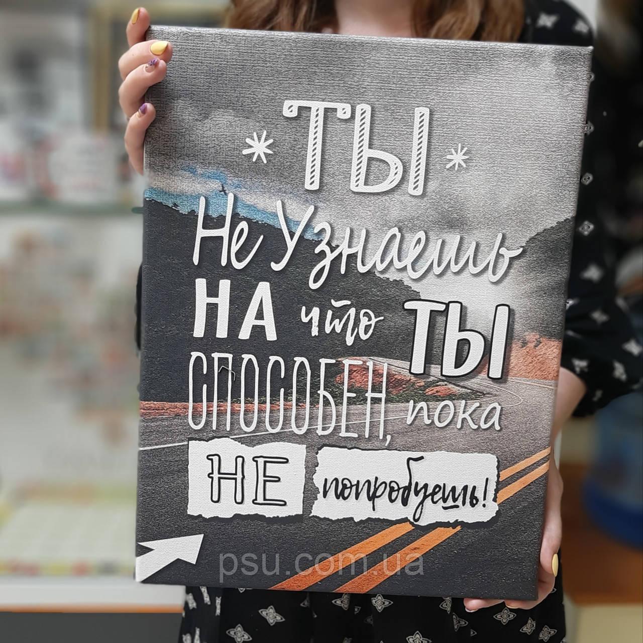 Мотивационный постер. Ты не узнаешь на что ты способен, пока не попробуешь