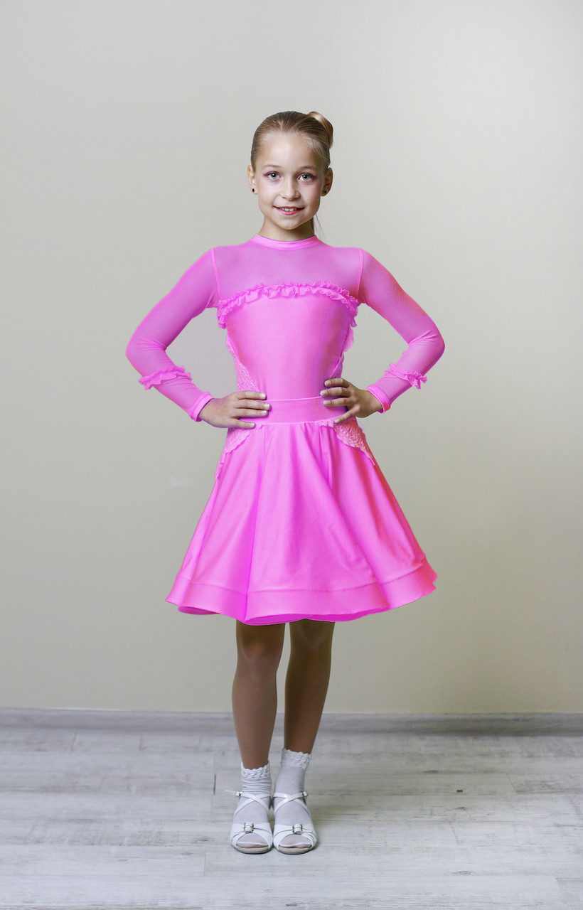 Рейтинговое платье Бейсик для бальных танцев Sevenstore 9108 Малина