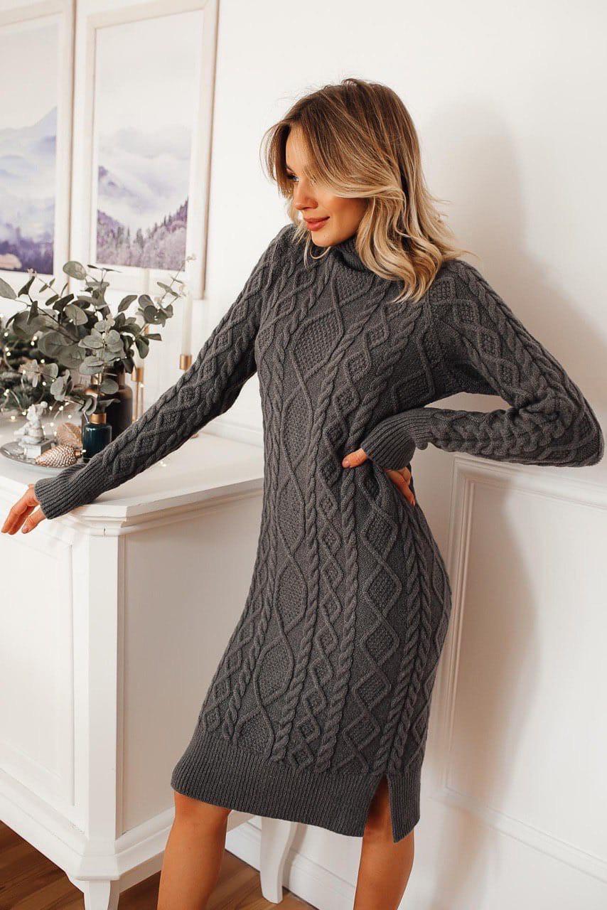 Вязаное платье прямого фасона с высокой горловиной до колен (р. 42, 44) 14ty690