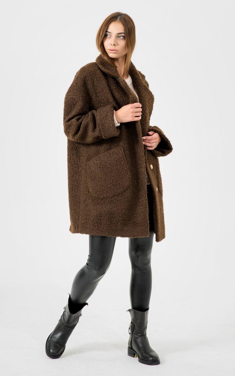 Шерстяное Пальто на запах, фасон оверсайз и двумя карманами (р. 42-50) 45lt319