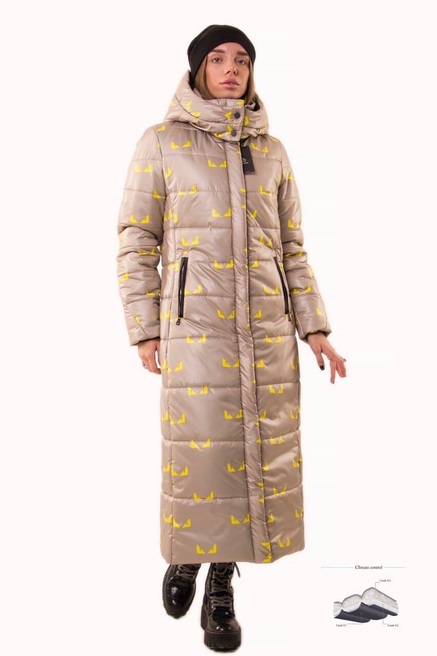 Зимнее принтованное Пальто из плащевки длиной макси, с капюшоном (р. 42-50) 83lt321