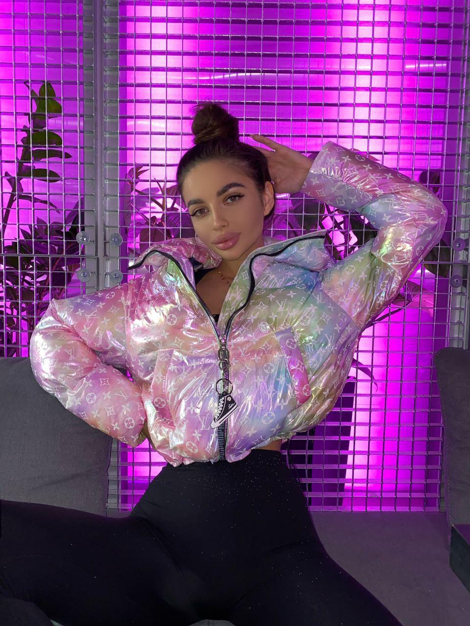 Женская зимняя куртка пуховик короткая с 3D принтом в стиле Tai Dai 71ki502