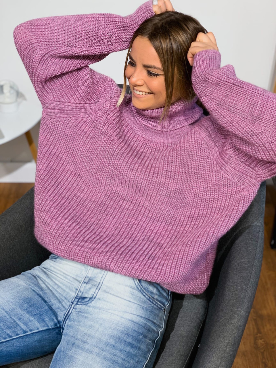 Вязаный свитер свободный с широкими рукавами и высоким воротником (р. 42-46) 3dm981