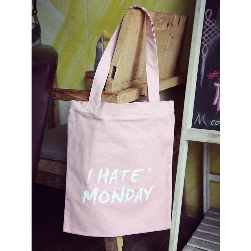Тканевая Эко Сумка Шоппер City-A с надписью I Hate Monday Розовая