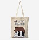 Тканевая Эко Сумка Шоппер City-A We Little Bears с Тремя Медведями которые Лежат Светло-Бежевая, фото 3