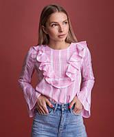 Блуза женская с оборками OLMOD 703-1 S розовая