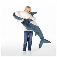 Мягкая подушка игрушка Акула IKEA BLAHAJ 100 см