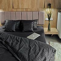 Комплект постельного белья из страйп - сатина Турция, постельное белье 100% хлопок тёмно-серого цвета