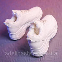 Кроссовки из Pu кожи осень- холодная весна  на меху  белые 39-40  размер, фото 2