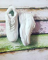 Кроссовки из Pu кожи осень- холодная весна  на меху  белые 39-40  размер, фото 3