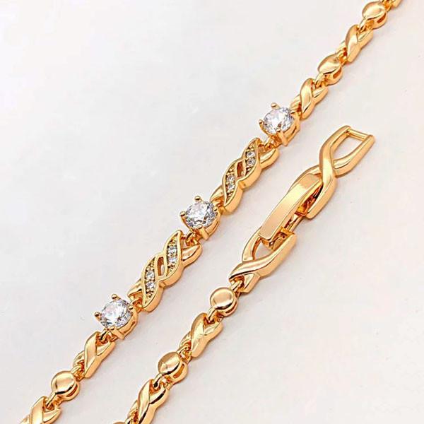 Браслет Xuping Jewelry 17/19 см с белыми камнями медицинское золото позолота 18К А/В 4-0100