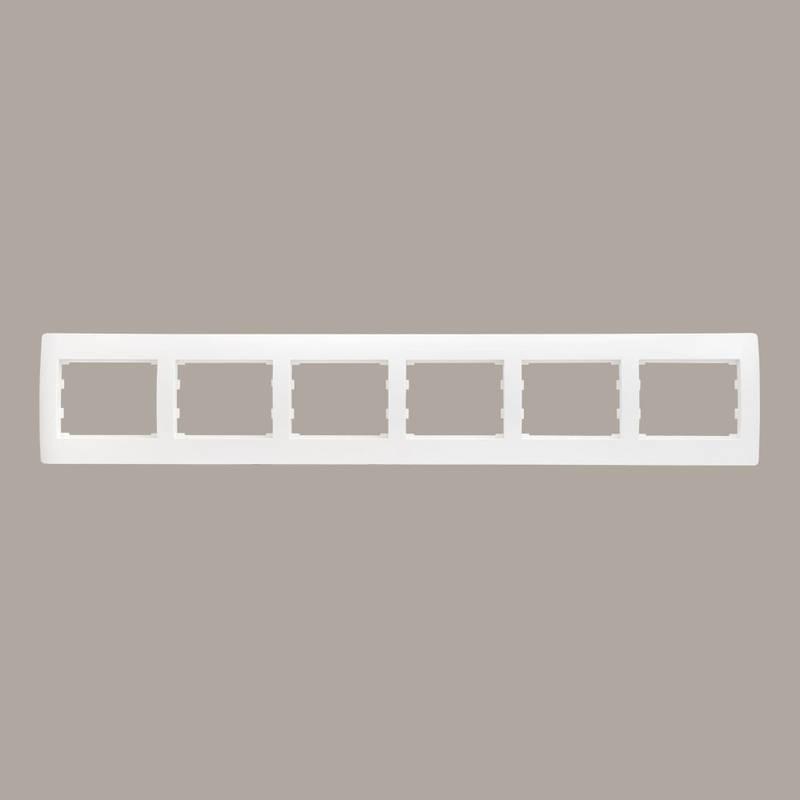 Рамка 6 мест горизонтальная LXL Oscar белый