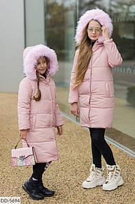 Куртка зимняя пальто для девочек. Цвет- черный, пудра. Размер: 128, 134, 140, 146, 152, 158.