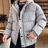 Куртка мужская зимняя Oversize серая до -20*С теплая с капюшоном | Пуховик мужской зимний ЛЮКС качества