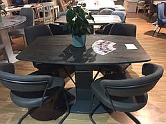 Стіл обідній розкладний Мілан-1 TES Mobili, стільниця з керамічним покриттям колір графіт