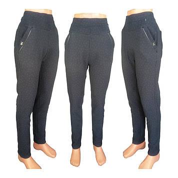 Женские леггинсы брюки с узором с верблюжьей шерсти на меху синий