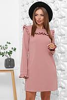 Женское пудровое платье в офисном стиле из креп-дайвинга, размер 44, 46, 48, 50, 52
