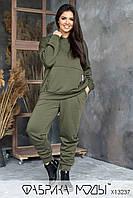 Утепленный женский спортивный костюм из трехнитки на флисе в батальных размерах 1mbr814