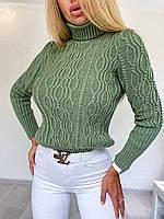 Женский приталенный вязаный свитер полушерстяной с узорами - косами (р. 42-46) 4dmde982, фото 1