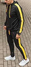 Мужской спортивный костюм с лампасами темно серого цвета с желтыми лампасами, фото 2