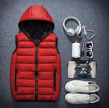 Мужской красный жилет с капюшоном, утепленный синтепоном, на молнии