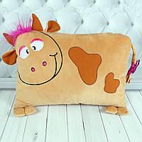 Мягкая игрушка подушка коровка Зефирка, плюшевая подушка корова 25 см.