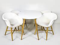 CRUZO Обеденный комплект Виола (стол и 4-6 кресел) тик, белый kt201020201 Стол + 6 стульев