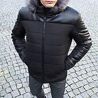 Куртка зимняя мужская до -25*С Winter mex с кожаными вставками черная   пуховик мужской зимний ЛЮКС качества