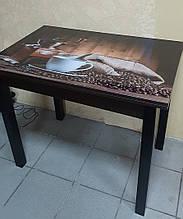 Стіл кухонний розкладний обідній Прага 90*60(120)*75см венге зі склом 06-156
