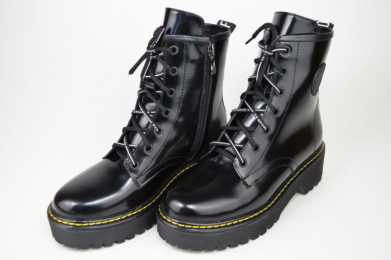 Ботинки с прошивкой Teona 20202 39 Черные кожа лак