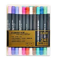 Набор двусторонних акварельных маркеров STA 24 цвета (B141019)