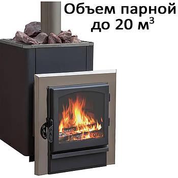 Печь банная, облицовка талькохлорит, c выносом, дверь со стеклом, черн.  KPT-20KSIL (20кВт)