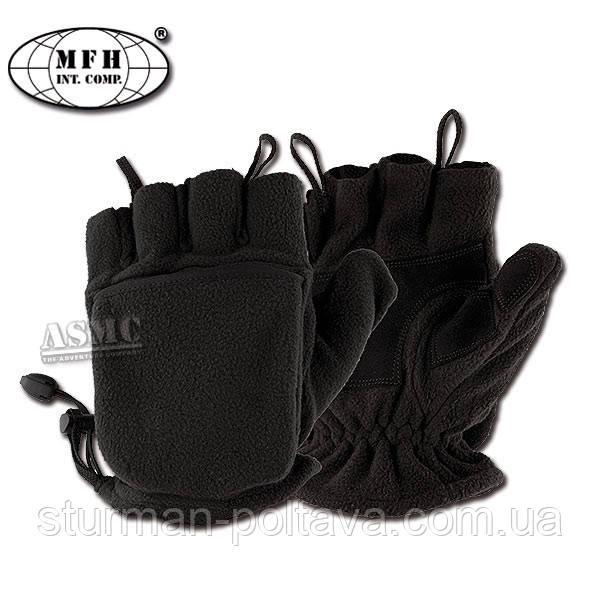 Перчатки  - варяжки  мужские  беспалые  флисовые  с клапаном  цвет черный   MFH Германия