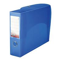 Папка-коробка сборная 70 мм, прозрачная синяя