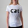 Женская белая футболка, Кот