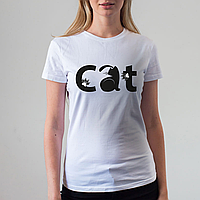 Женская белая футболка, Кот, фото 1