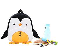 """Детский рюкзак """"Пингвин"""" маленький плюшевый мягкий велюр для малышей для садика черно-белый унисекс МК21"""