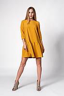 Яркое женское платье трапеция горчичное с оборкой 42, 44, 46, 48