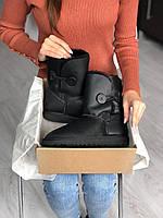 Женские Ugg Bailey Button Black черного цвета. Стильные сапоги женские зимние Угги теплые черные., фото 1