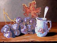 "Схема для вышивки бисером на атласе ""Ветка винограда"""