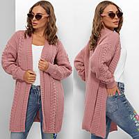 """Кардиган розовый стильный вязаный теплый """"Альфа"""", фото 1"""