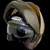 Мотошлем FXW HF-119 CARBON шлем трансформер, Flip-Up модуляр с солнцезащитными очками, карбоновый рисунок