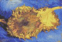 """Схема для вышивки бисером на атласе """"Репродукция В. Ван Гога (Два срезанных подсолнуха)"""""""""""