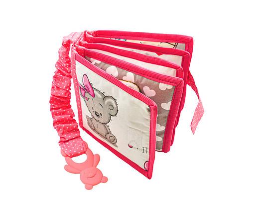 Тихая книга с мишкой Тедди для девочки, Развивающая книжка на липучках, 10 страниц, фото 2
