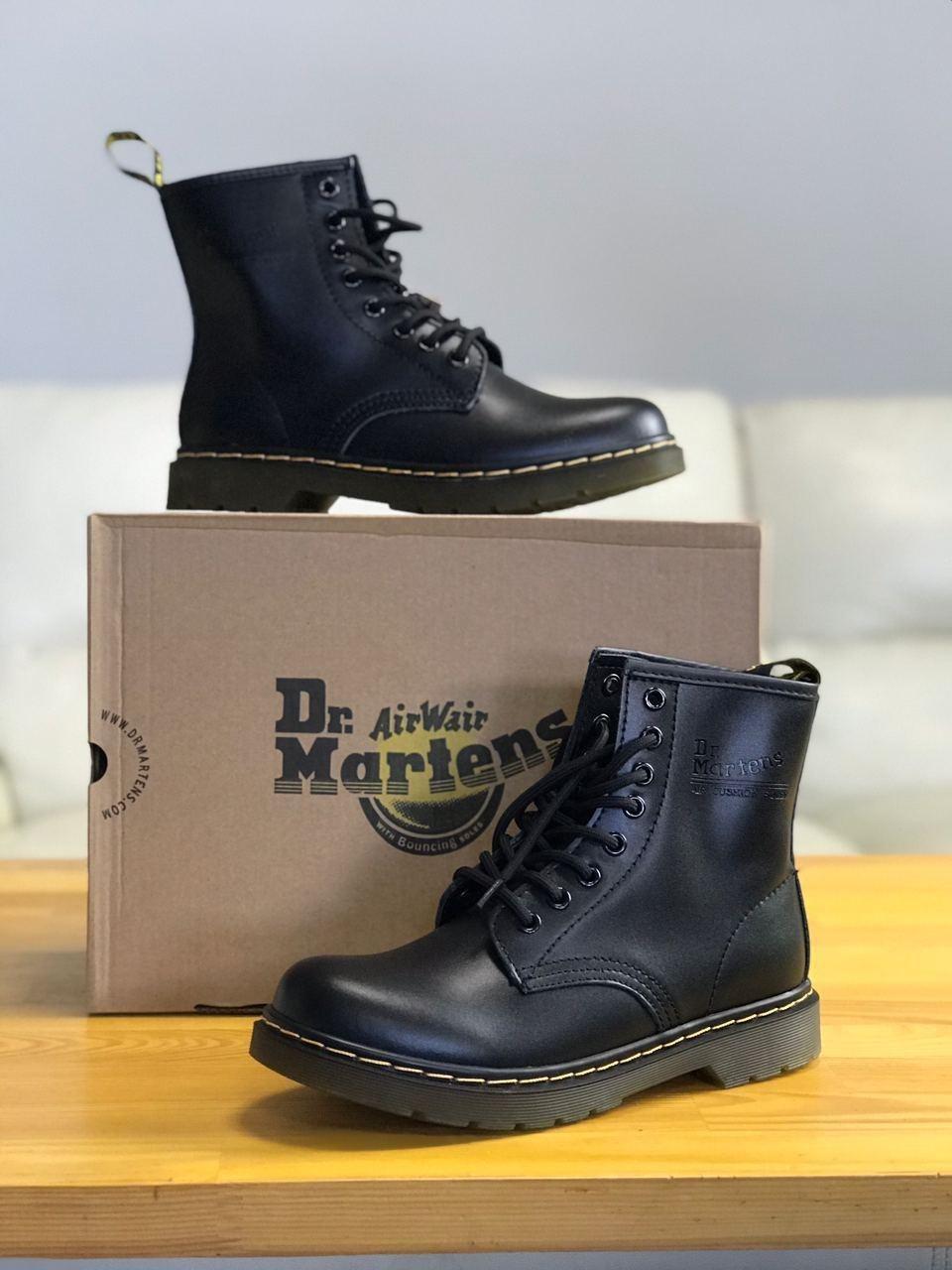 Женские кожаные ботинки на высокой подошве в стиле Dr.Martens black dr-00293