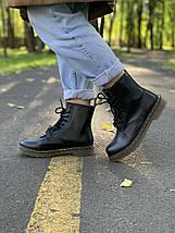 Женские кожаные ботинки на высокой подошве в стиле Dr.Martens black dr-00293, фото 2