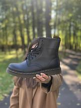 Женские кожаные ботинки на высокой подошве в стиле Dr.Martens black dr-00293, фото 3