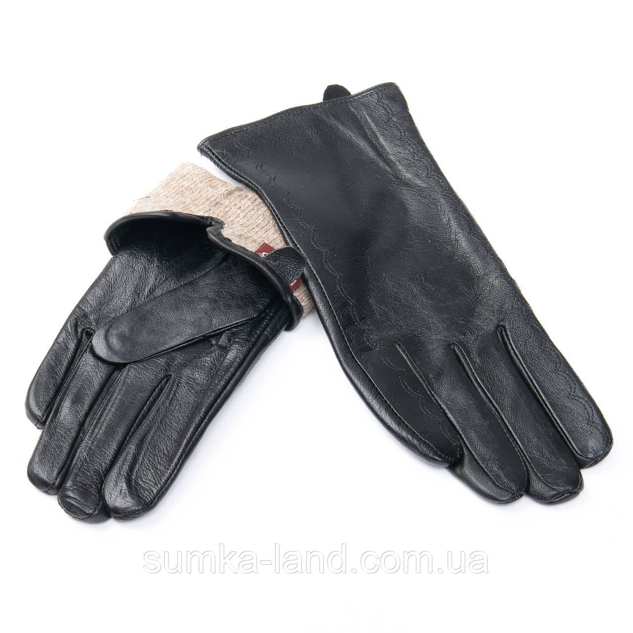 Женские черные кожаные перчатки с шерстяной подкладкой